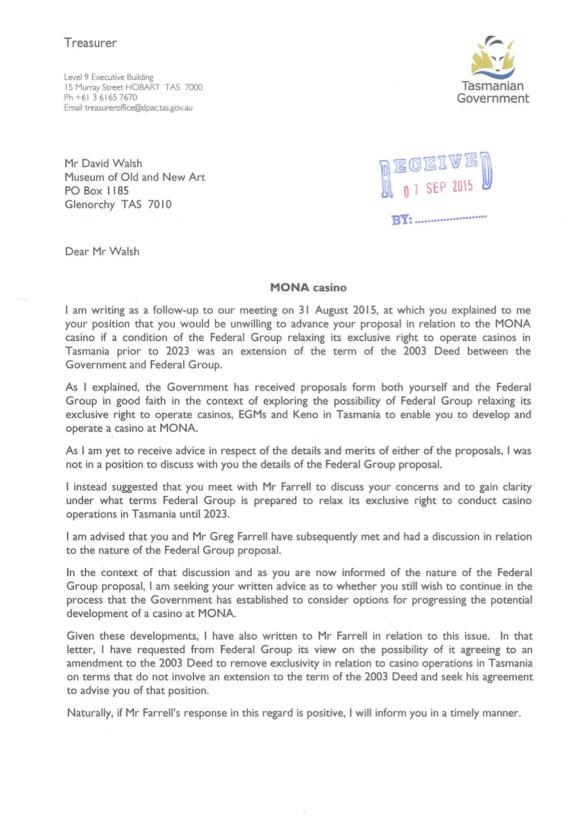 Mona Casino Letter