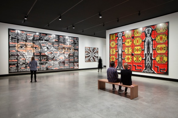 Gilbert & George Born 1943 in San Martin de Tor, Italy and 1942 in Plymouth, England; live and work in London Gilbert & George: The Art Exhibition, on display at Mona until March 28, 2016. Photo Credit: Mona/Rémi Chauvin Image Courtesy Mona, Museum of Old and New Art, Hobart, Tasmania, Australia